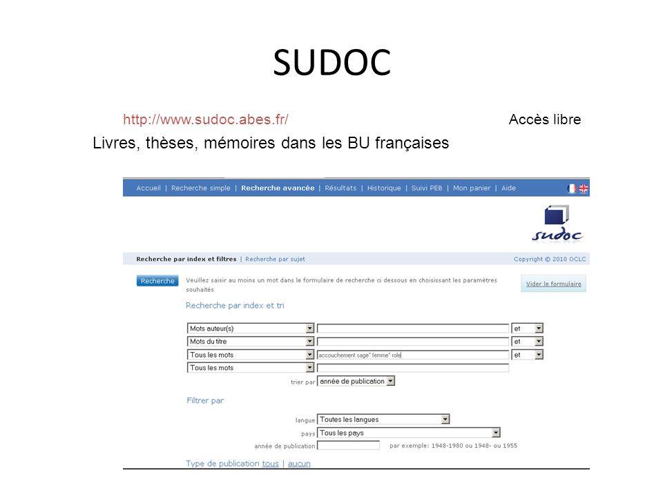http://www.sudoc.abes.fr/ Accès libre