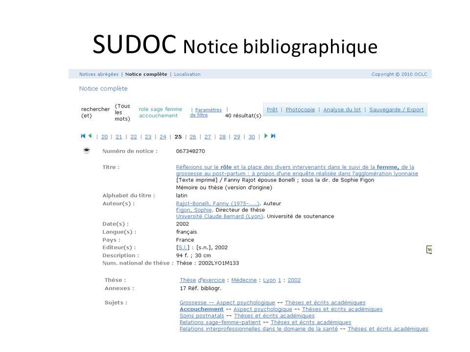 SUDOC Notice bibliographique