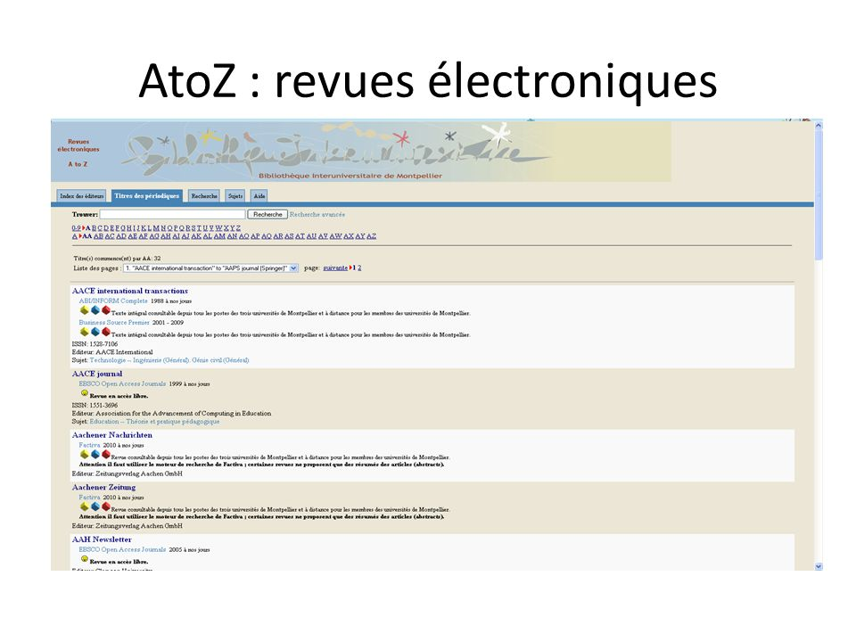 AtoZ : revues électroniques
