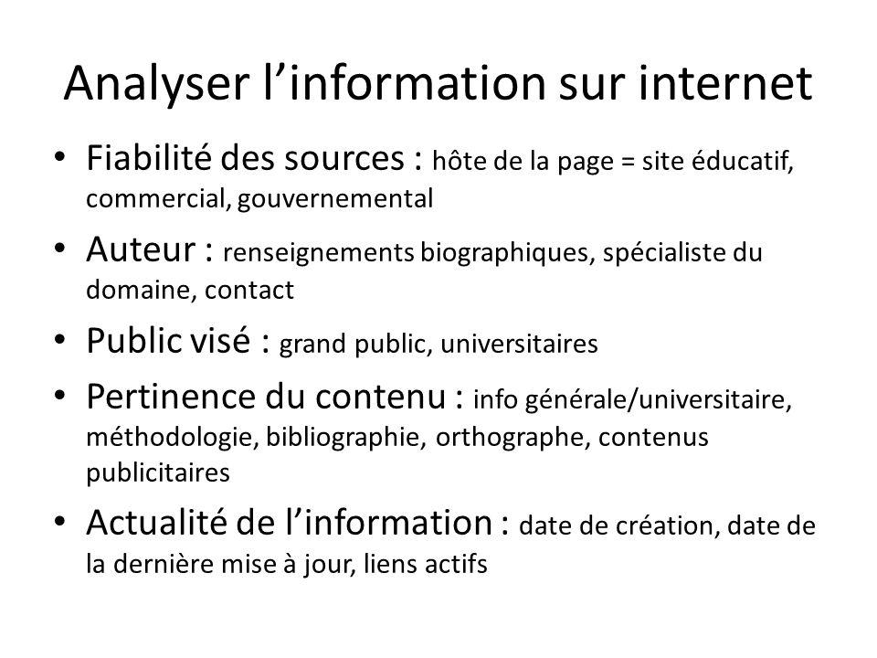 Analyser l'information sur internet