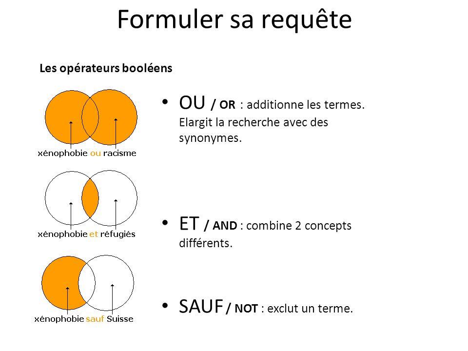Formuler sa requête Les opérateurs booléens. OU / OR : additionne les termes. Elargit la recherche avec des synonymes.