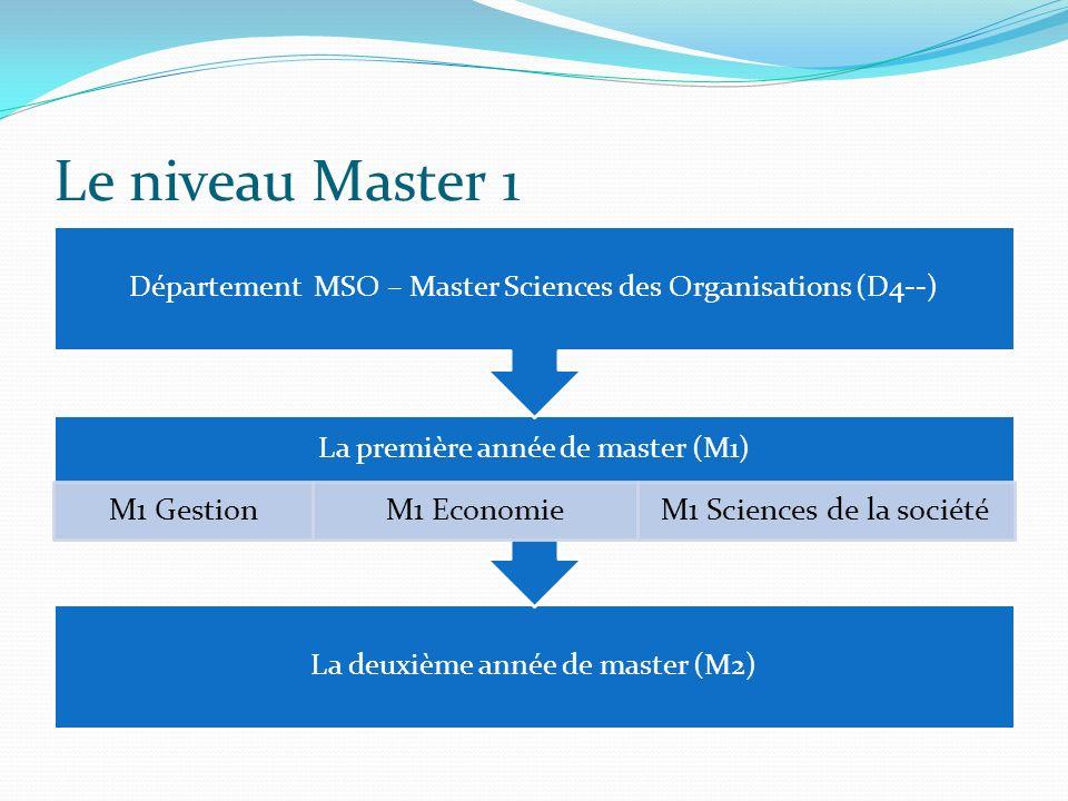 Le niveau Master 1 Département MSO – Master Sciences des Organisations (D4--) La première année de master (M1)