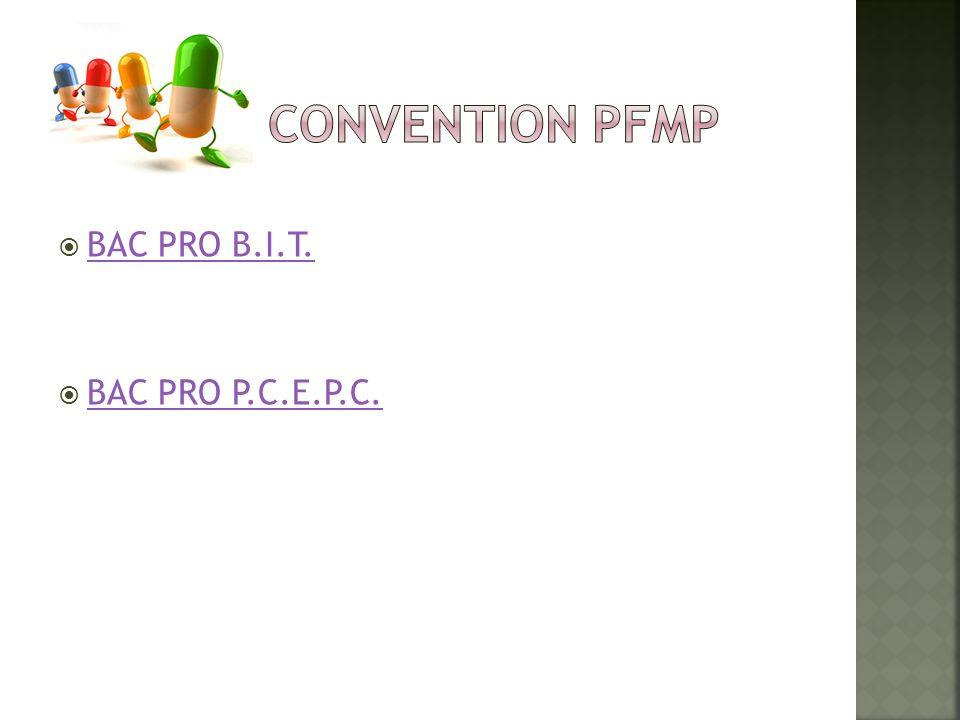 CONVENTION PFMP BAC PRO B.I.T. BAC PRO P.C.E.P.C.