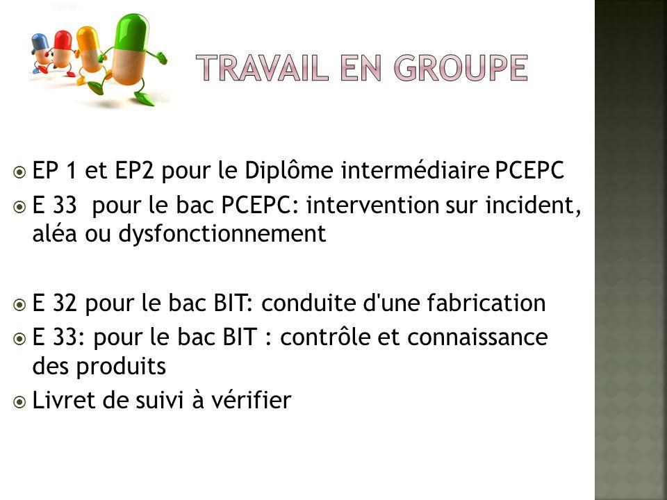 TRAVAIL EN GROUPE EP 1 et EP2 pour le Diplôme intermédiaire PCEPC