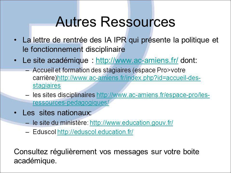 Autres Ressources La lettre de rentrée des IA IPR qui présente la politique et le fonctionnement disciplinaire.