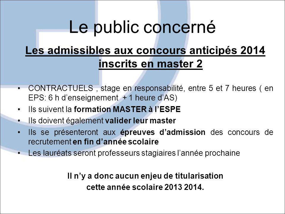 Le public concerné Les admissibles aux concours anticipés 2014 inscrits en master 2.