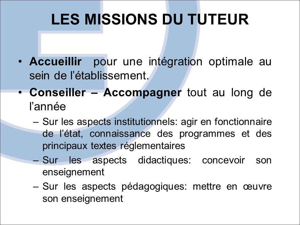 LES MISSIONS DU TUTEUR Accueillir pour une intégration optimale au sein de l'établissement. Conseiller – Accompagner tout au long de l'année.