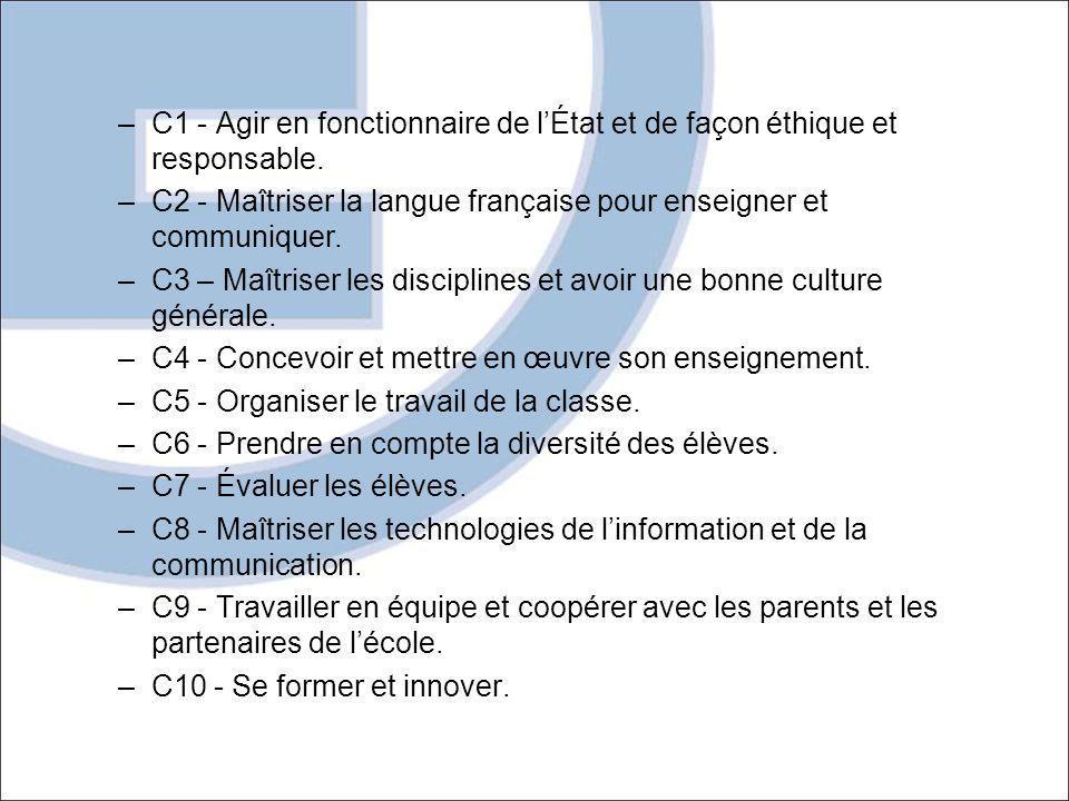 C1 - Agir en fonctionnaire de l'État et de façon éthique et responsable.