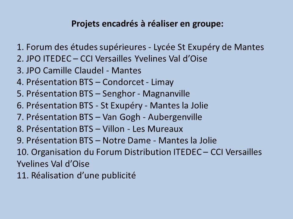 Projets encadrés à réaliser en groupe: