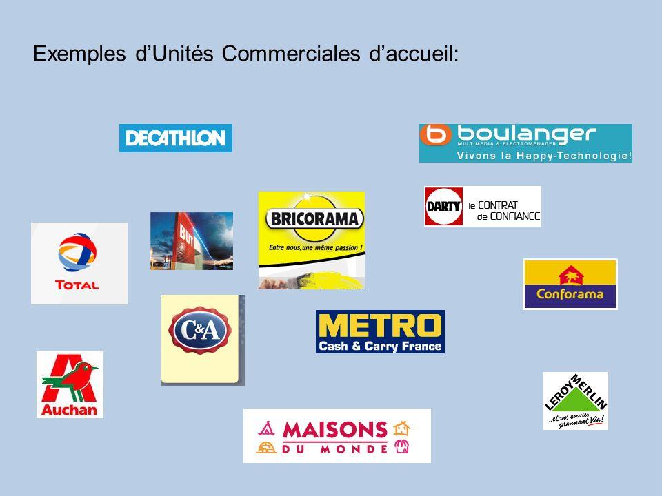 Exemples d'Unités Commerciales d'accueil: