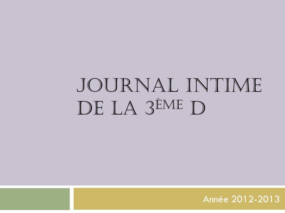 Journal intime de la 3ème d