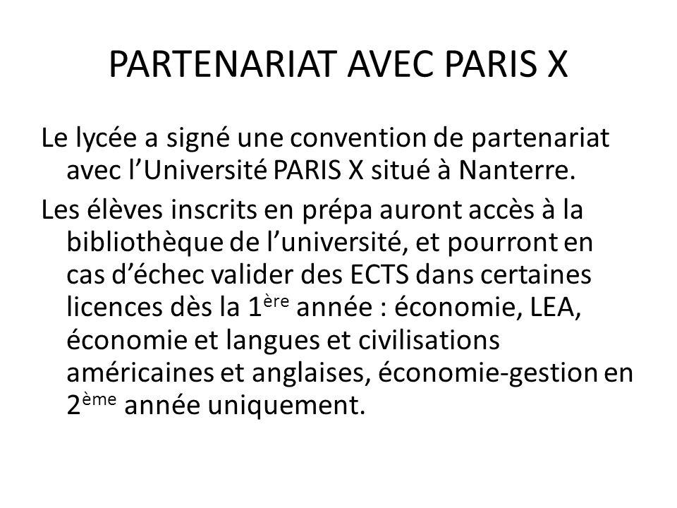 PARTENARIAT AVEC PARIS X