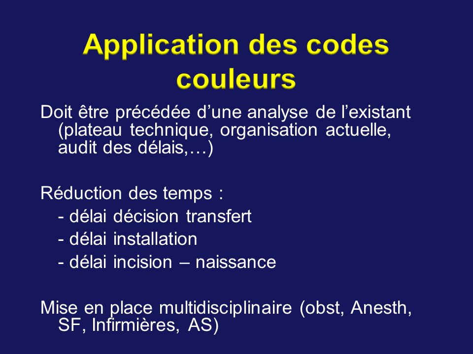 Application des codes couleurs