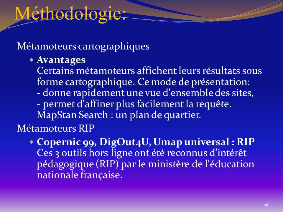 Méthodologie: Métamoteurs cartographiques