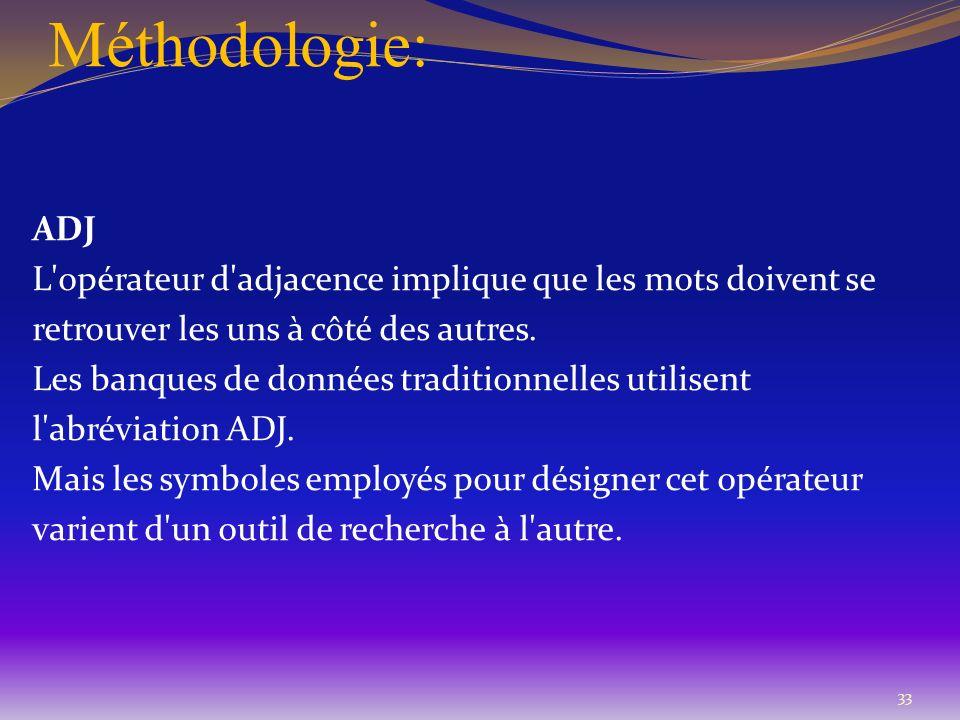 Méthodologie: ADJ. L opérateur d adjacence implique que les mots doivent se. retrouver les uns à côté des autres.