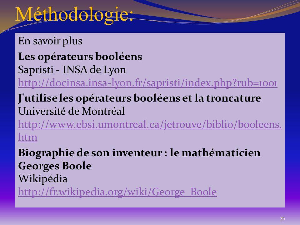 Méthodologie: En savoir plus