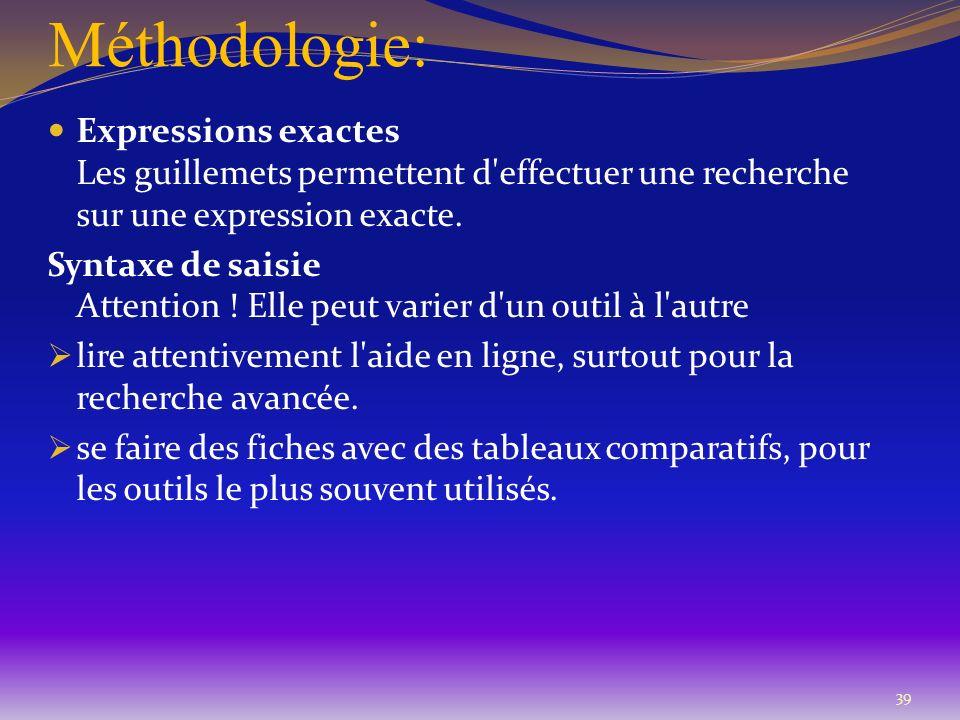 Méthodologie: Expressions exactes Les guillemets permettent d effectuer une recherche sur une expression exacte.