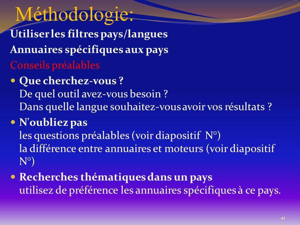 Méthodologie: Utiliser les filtres pays/langues