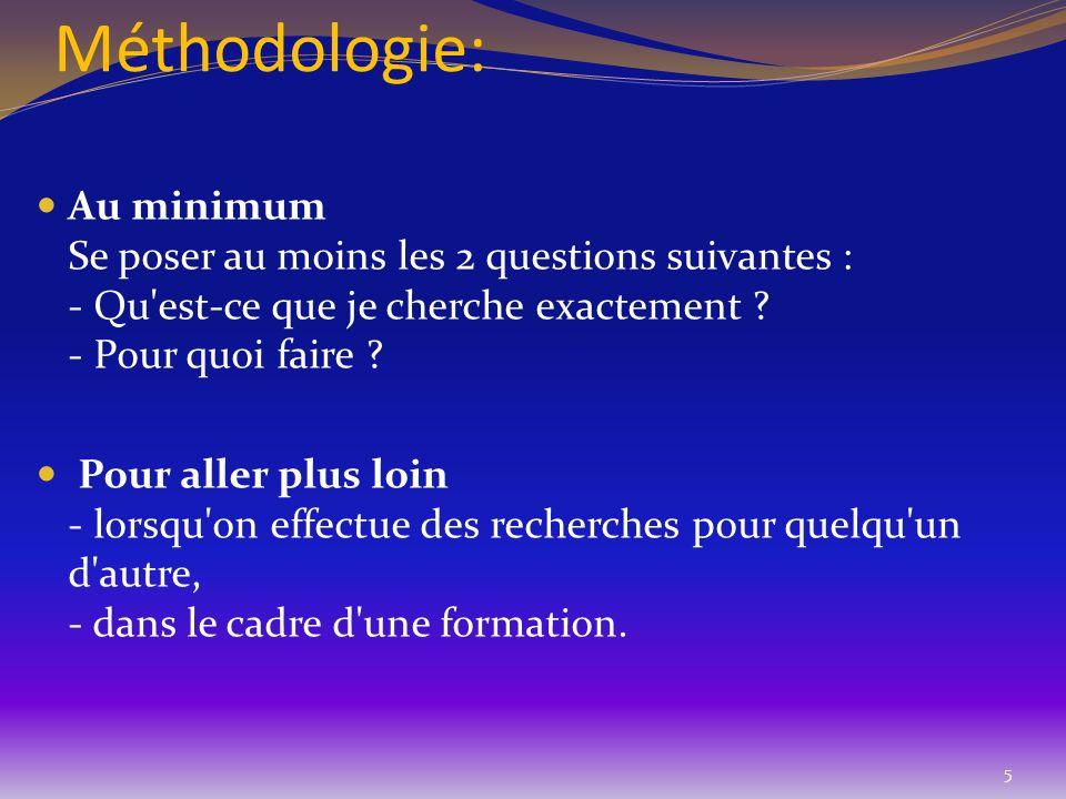 Méthodologie: Au minimum Se poser au moins les 2 questions suivantes : - Qu est-ce que je cherche exactement - Pour quoi faire