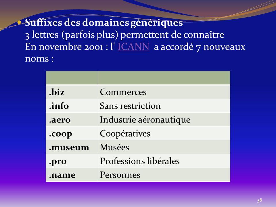 Suffixes des domaines génériques 3 lettres (parfois plus) permettent de connaître En novembre 2001 : l ICANN a accordé 7 nouveaux noms :
