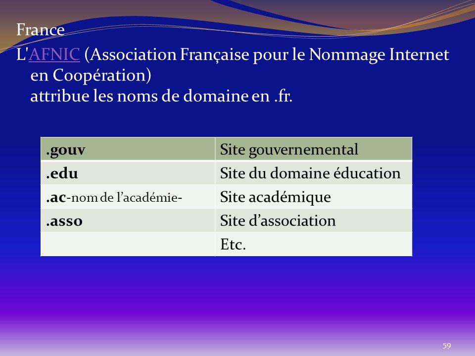 France L AFNIC (Association Française pour le Nommage Internet en Coopération) attribue les noms de domaine en .fr.