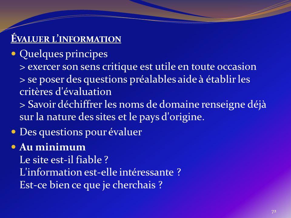 Évaluer l'information