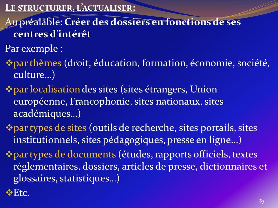 Le structurer, l'actualiser:
