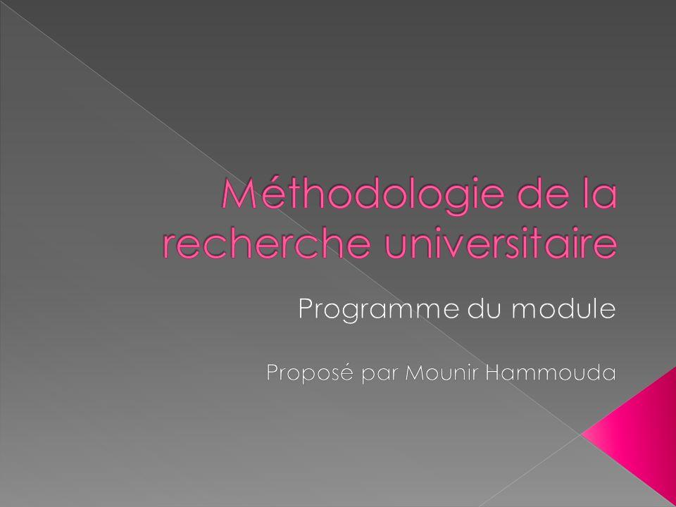 Méthodologie de la recherche universitaire