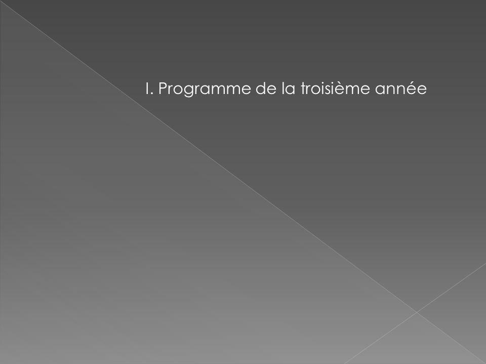 I. Programme de la troisième année