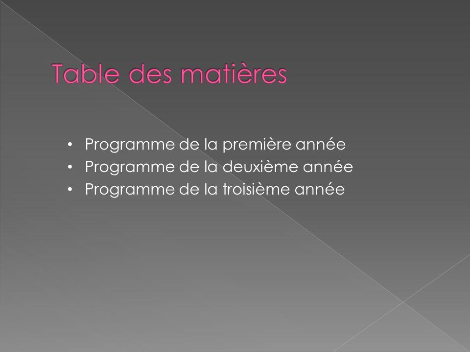 Table des matières Programme de la première année