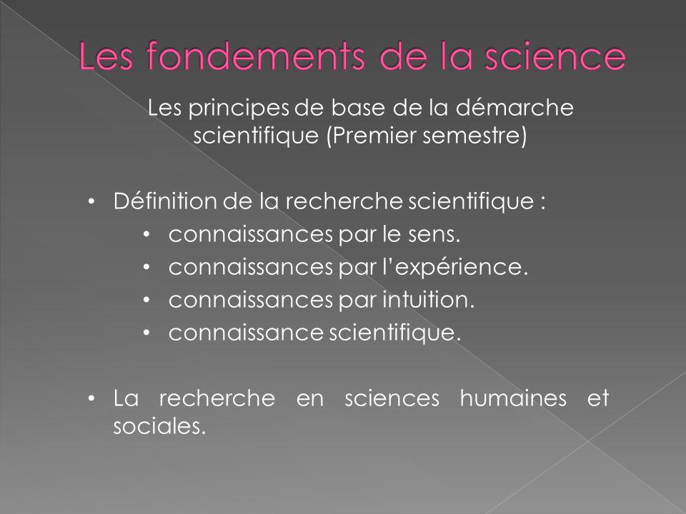 Les fondements de la science