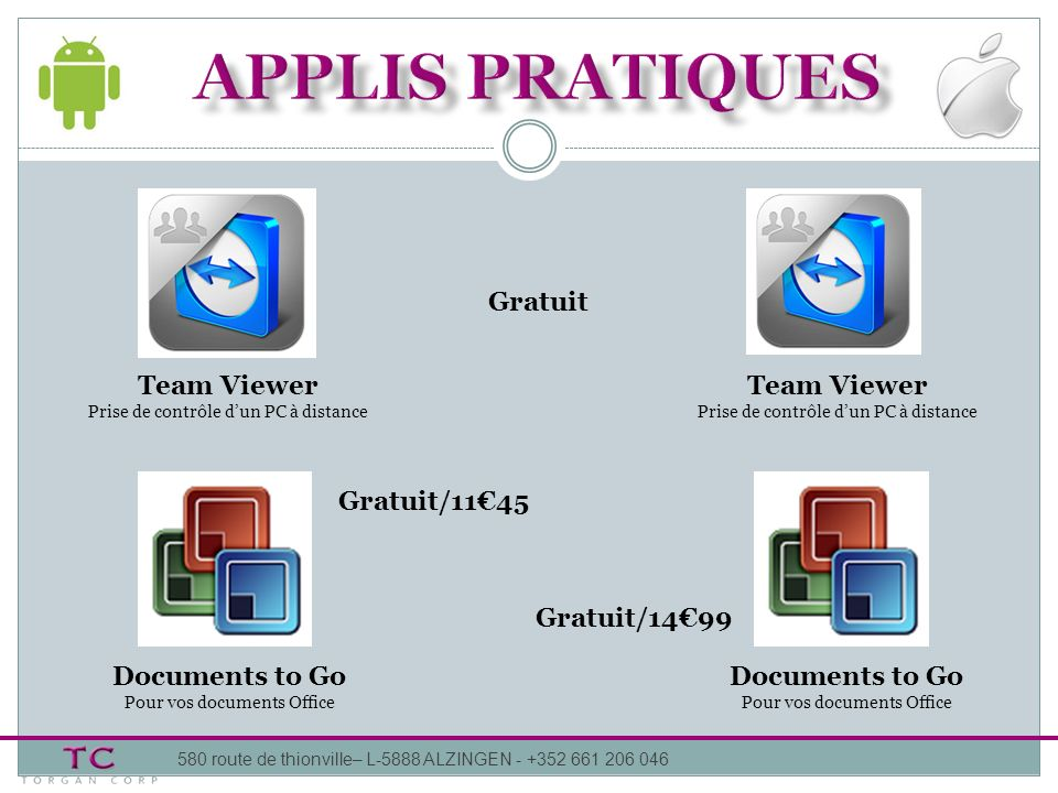 APPLIS pratiques Gratuit Team Viewer Team Viewer Gratuit/11€45