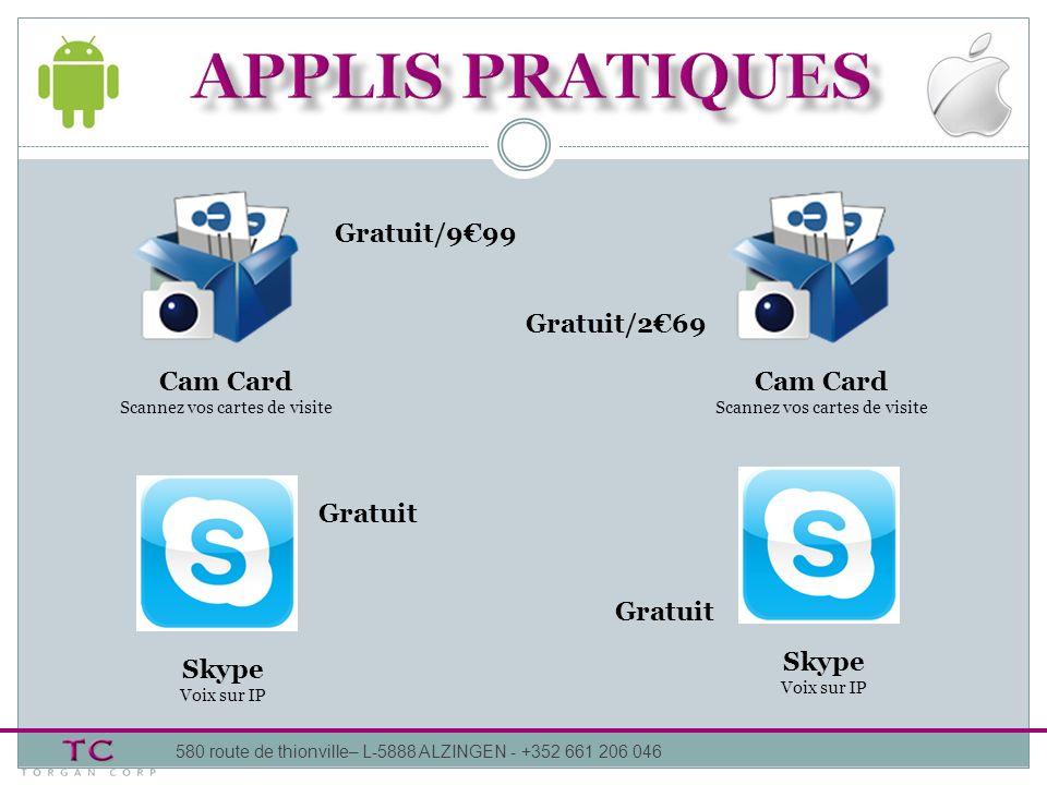 APPLIS pratiques Gratuit/9€99 Gratuit/2€69 Cam Card Cam Card Gratuit