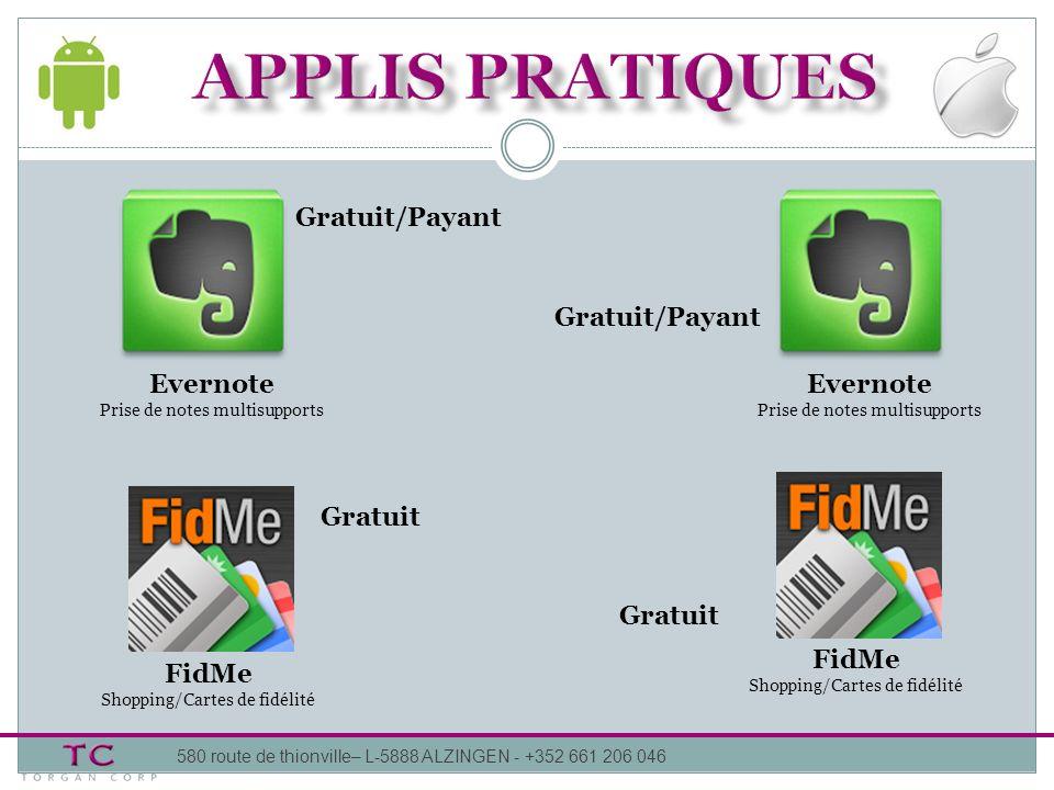 APPLIS pratiques Gratuit/Payant Gratuit/Payant Evernote Evernote