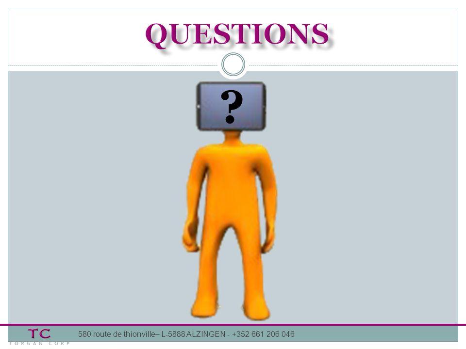 Questions 580 route de thionville– L-5888 ALZINGEN - +352 661 206 046