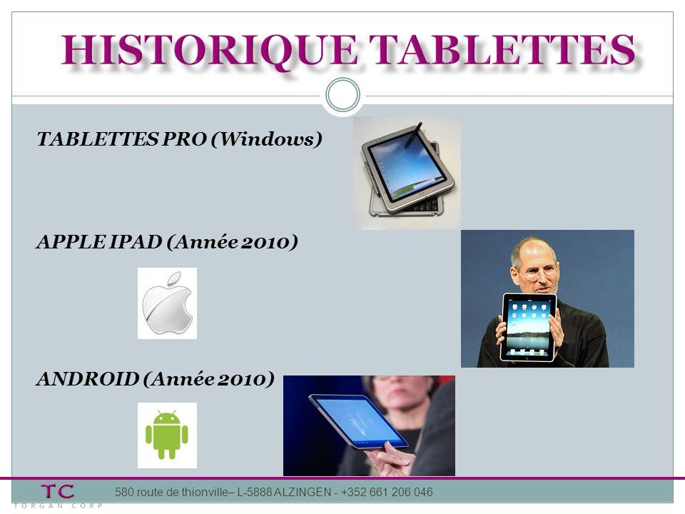 HISTORIQUE tablettes TABLETTES PRO (Windows) APPLE IPAD (Année 2010)