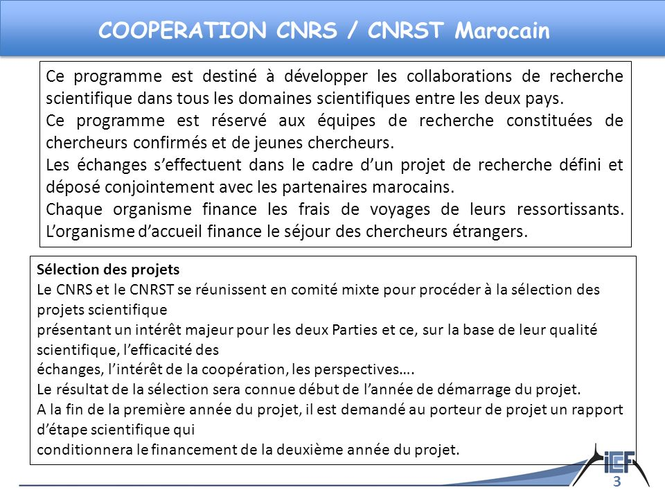 COOPERATION CNRS / CNRST Marocain