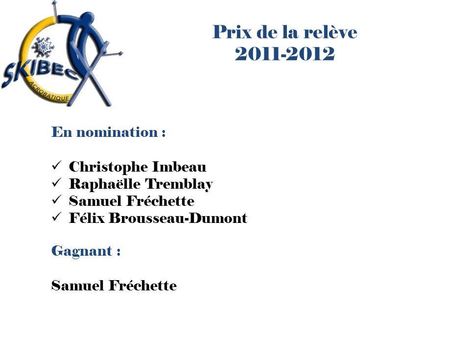 Prix de la relève 2011-2012 En nomination : Christophe Imbeau