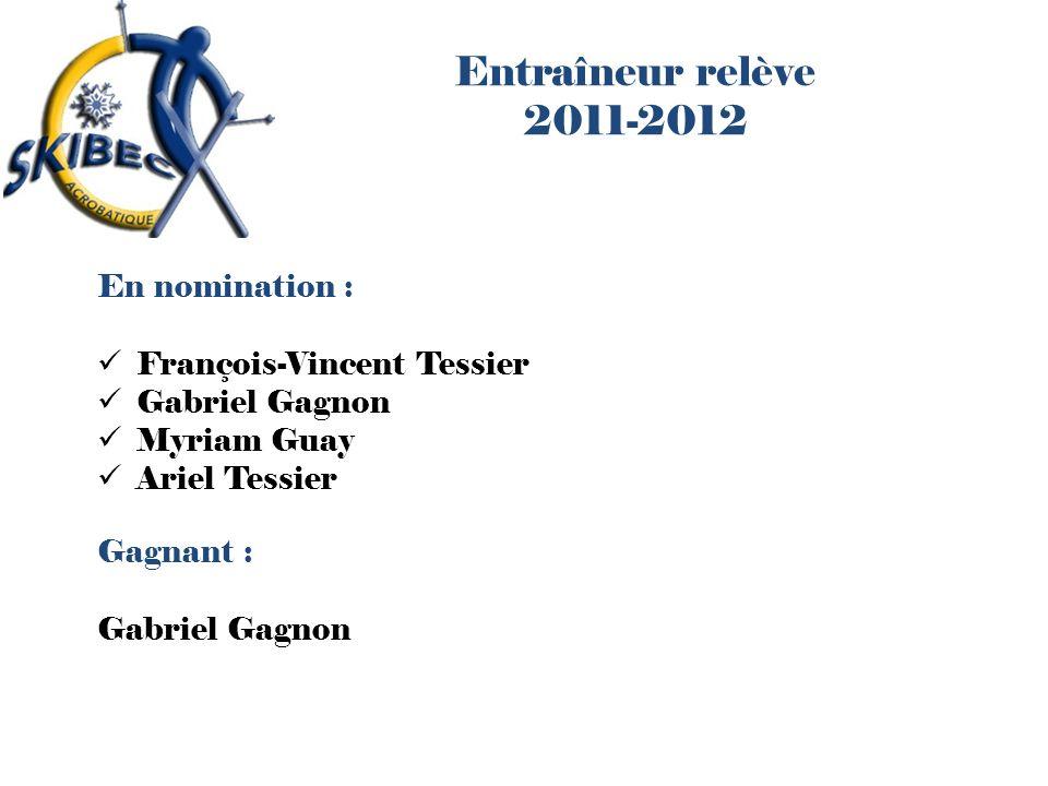 Entraîneur relève 2011-2012 En nomination : François-Vincent Tessier