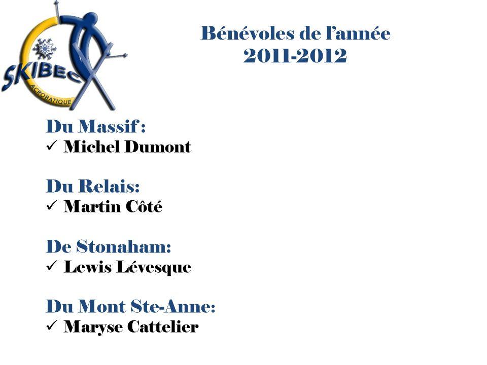 Bénévoles de l'année 2011-2012 Du Massif : Du Relais: De Stonaham: