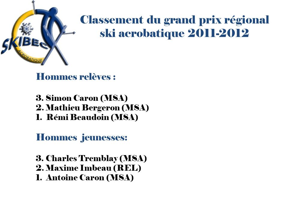 Classement du grand prix régional ski acrobatique 2011-2012