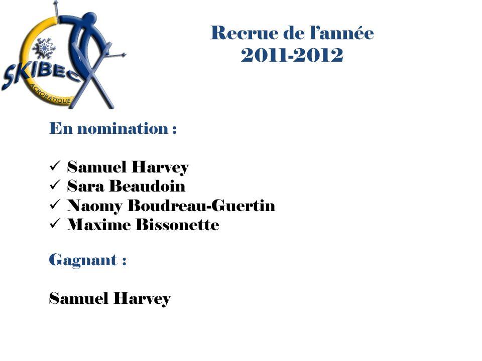 Recrue de l'année 2011-2012 En nomination : Samuel Harvey