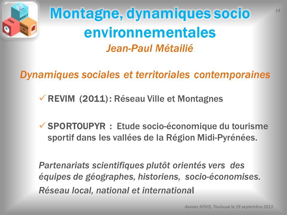 Montagne, dynamiques socio environnementales Jean-Paul Métailié