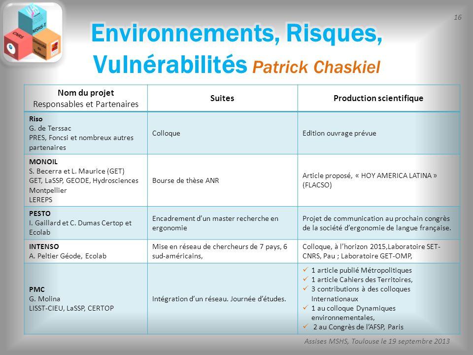 Environnements, Risques, Vulnérabilités Patrick Chaskiel