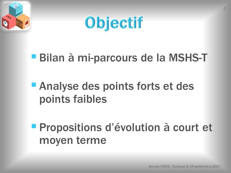 Objectif Bilan à mi-parcours de la MSHS-T