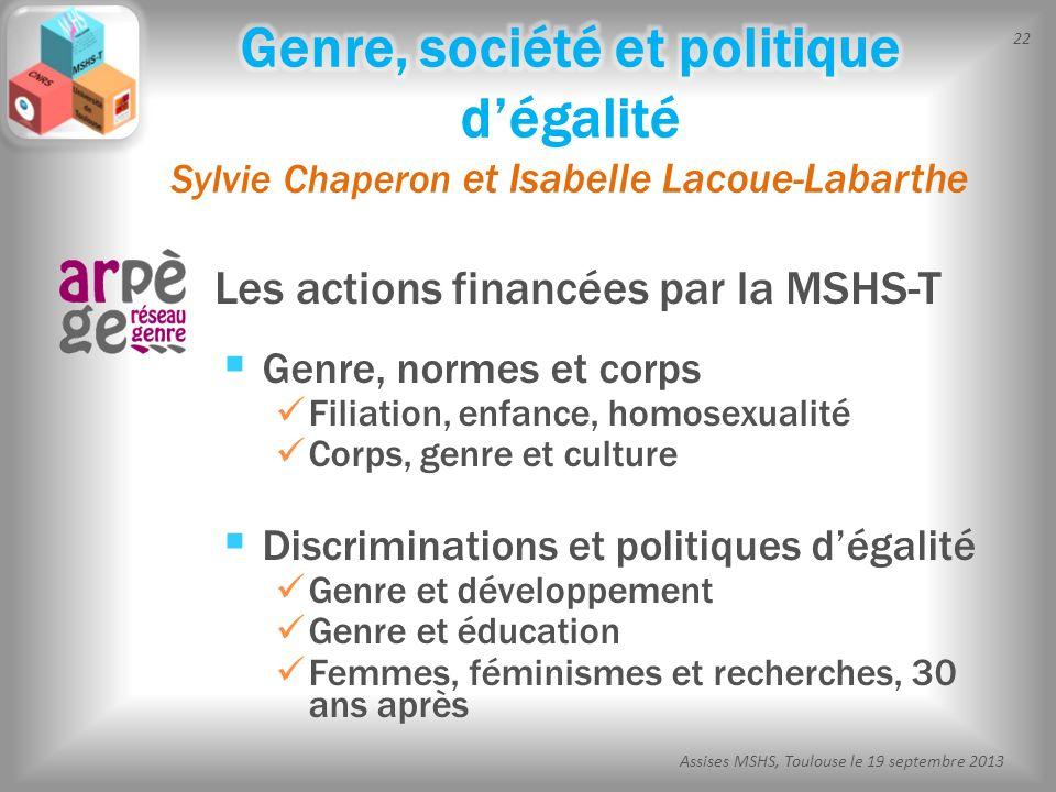 Genre, société et politique d'égalité Sylvie Chaperon et Isabelle Lacoue-Labarthe