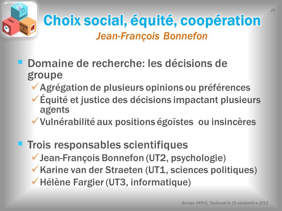 Choix social, équité, coopération Jean-François Bonnefon