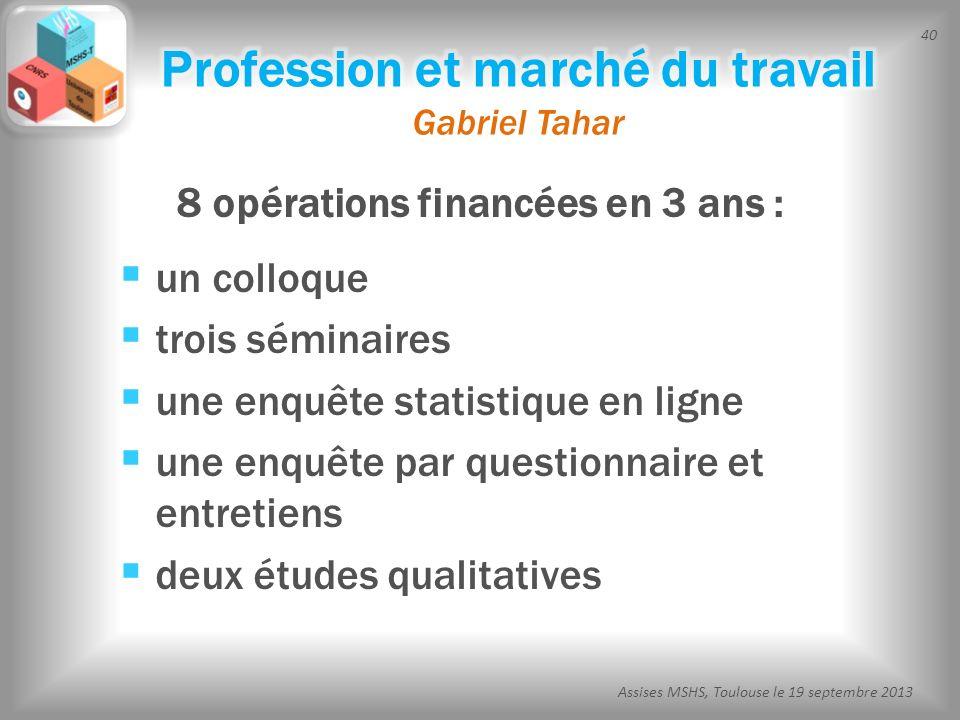 Profession et marché du travail Gabriel Tahar