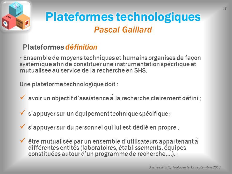 Plateformes technologiques Pascal Gaillard