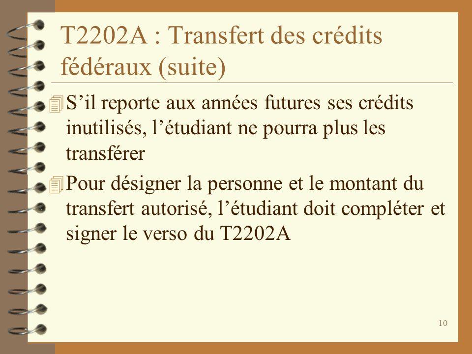T2202A : Transfert des crédits fédéraux (suite)